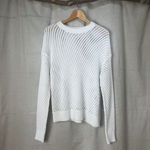 Vince White Mesh Knit Crewneck Sweater